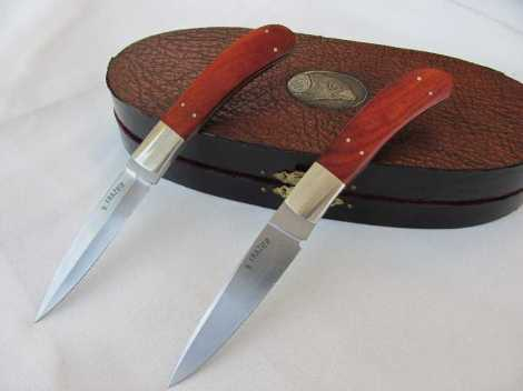 Frazier Gentleman Hunter & Fighter Knife Set w/Pink Ivory Handles