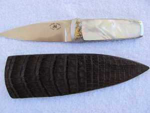 Engraved Mother of Pearl Boot Knife